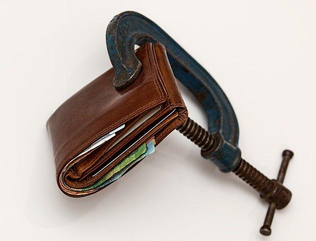 Geldbeutel unter Druck